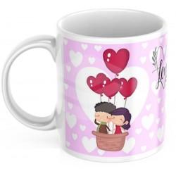 "Cana personalizata ""I love you"" baloane- model roz"