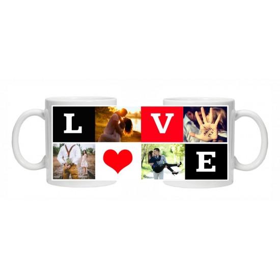 Cana personalizata cu 4 fotografii - Love