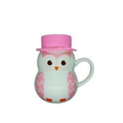 Cana realizata din ceramica in forma de bufnita cu capac din silicon - roz