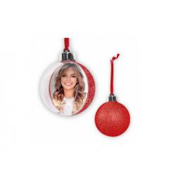Glob personalizat cu fotografie si spate rosu-glitter 10 cm