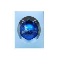 """Glob pentru brad in cutie cadou – Design cu ren si inscriptia """"Craciun Fericit"""" – Albastru"""