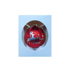 "Glob pentru brad in cutie cadou – Design cu ren si inscriptia ""Craciun Fericit"" – Rosu"