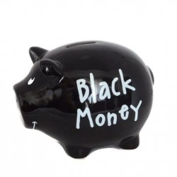 "Pusculita din ceramica in forma de porcusor ""Black Money"""