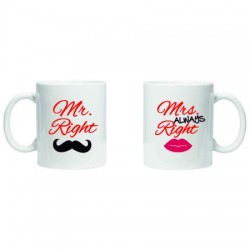 """Set de 2 cani """"Mr Right / Mrs Always Right"""""""