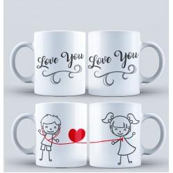 """Set 2 cani personalizate """"Love you"""""""