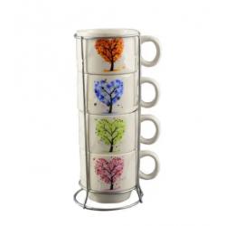 Set 4 cesti pentru cafea cu suport metalic – Design cu copac