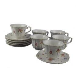 Set de 6 cesti cu farfurii din ceramica