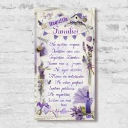 """Tablou cu mesaj """"Regulile Familiei"""" - lavanda"""